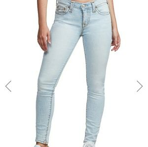 TRUE RELIGION FADED BLUE LOW RISE SKINNY JEANS